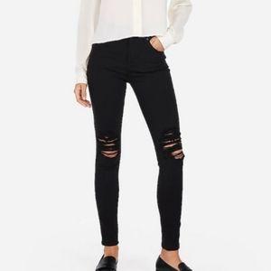 Express High Rise Legging Distressed Black Jeans 4